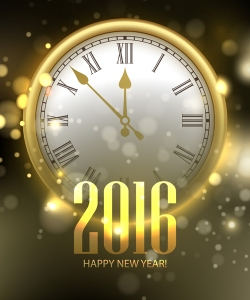 Vector 2016 Happy New Year background with clock. Vector illustr